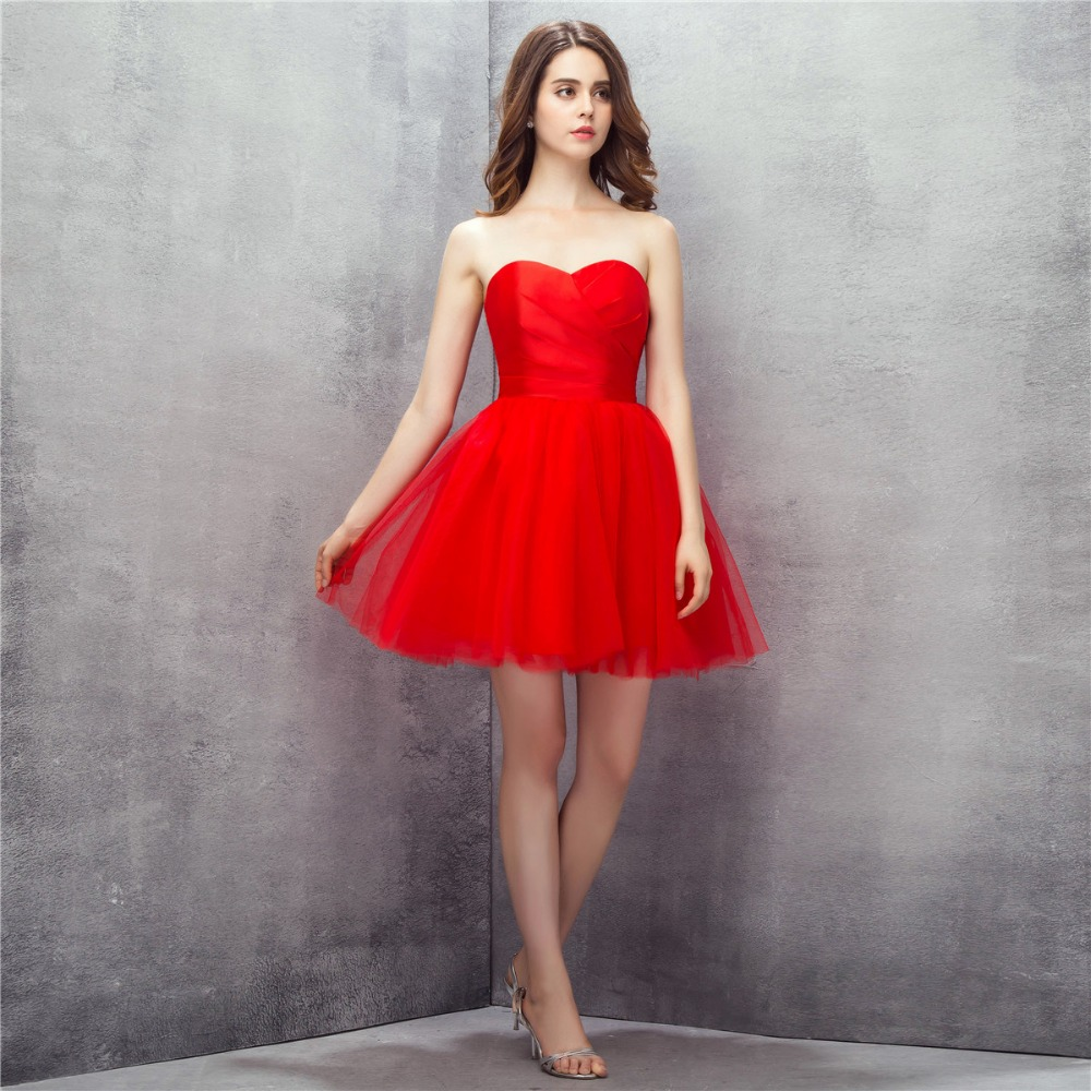 Fashion Red Sweetheart A Line Short Prom Dresses Puffy Beaded Cocktail Party Gowns New Arrival