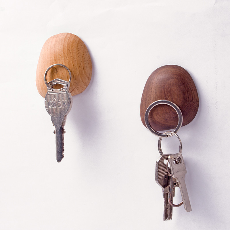 Nordic Magnetism Dřevěný věšák pro klíče závěs Jednoduchý dekor nástěnné háčky dřevěné magnet Wall Store příslušenství
