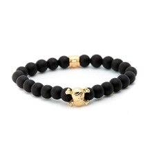 2017 Wholesale 8mm Natural Black Matte Onyx Stone Bead Gold Plated Pirate Skull Head Charm Elastic Yoga Mala Bracelets Homme