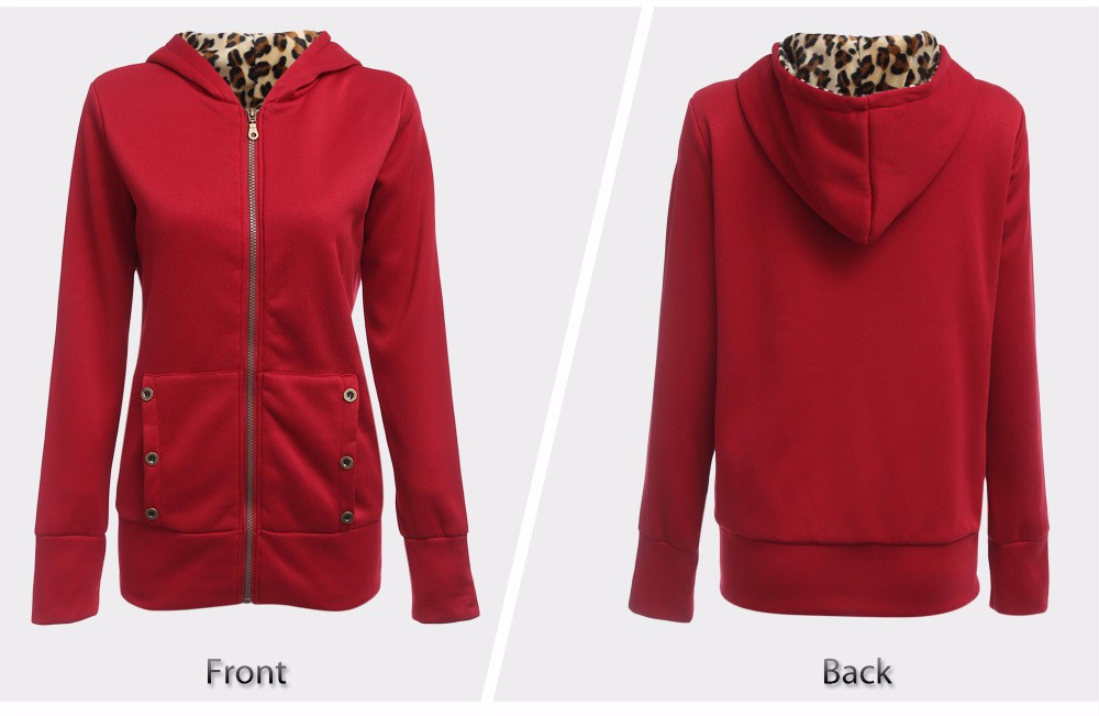 VESTLINDA Plus Size Women Winter Coat Trendy Hooded Women Outerwear Sweatshirts Stylish Leopard Print Zipper Coat Casual Jacket 10