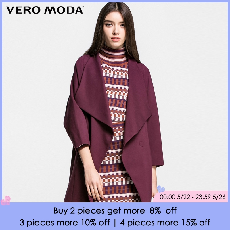 Vero Moda Brand 2018 NEW three quarter bat sleeve OL-style regular long solid color turn-down collar women   trench   coat|316121017