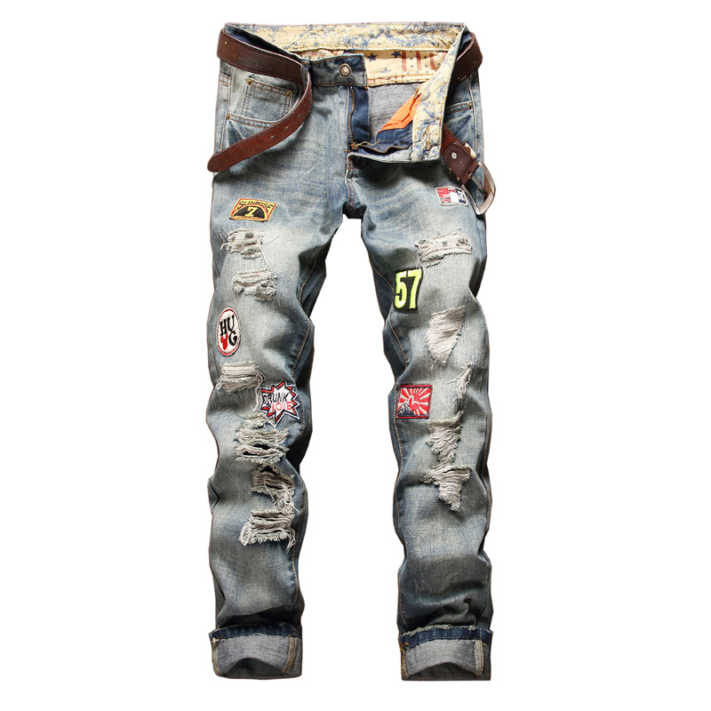 Personality Badge Patchwork Jeans Men Ripped Jeans mens's fashion Scratched Biker Jeans Hole Denim Straight Slim Casual Pants newsosoo personality badge patchwork jeans mens ripped men jeans rap biker hole hip hop denim straight slim fit casual men pants
