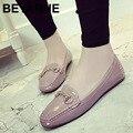 Большой размер 40 новый британский женщины квадратных ног мокасины stitiching линии плоские туфли женские классические металлические пряжки повседневная обувь