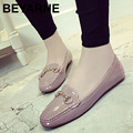big size 40 new british women square toe moccasin stitiching line flat shoes female classic metal buckle casual shoe