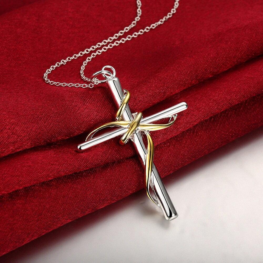4a4475e0f2fd Calidad Superior clásico Cruz Jesucristo colgante encanto crucifijo  Collares joyería plateada plata para las mujeres hombres en Collares  pendientes de ...