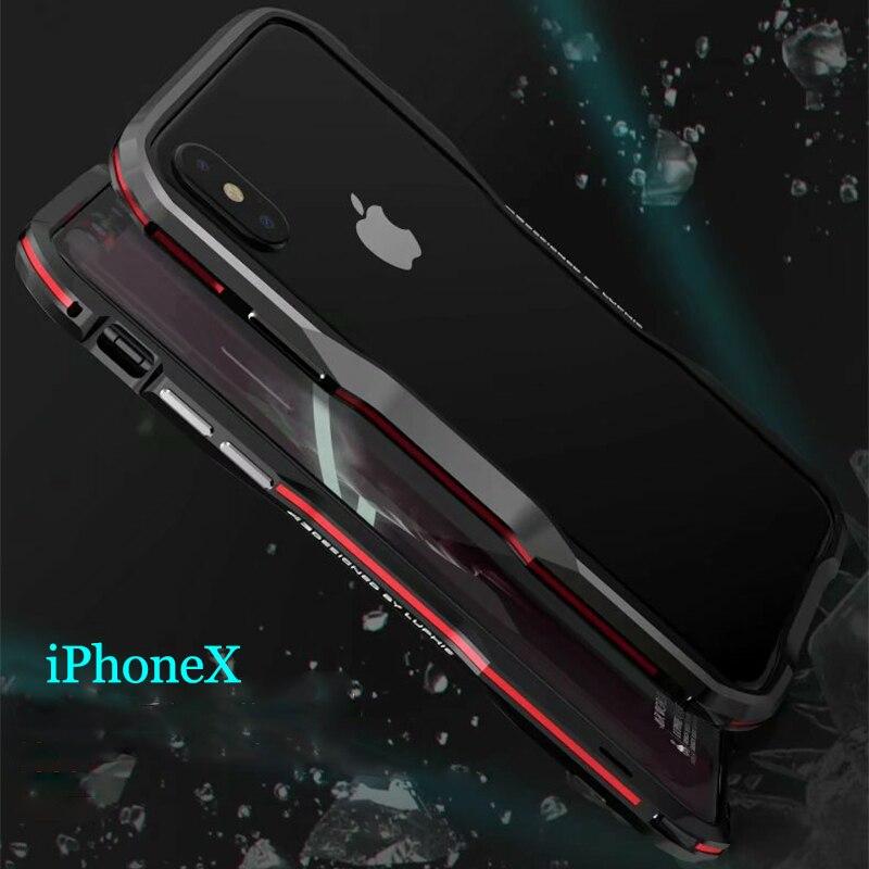 Luphie bicolor aluminio metal teléfono parachoques caso para iPhone ...