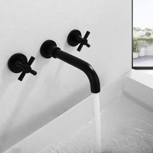 SKOWLL современный набор с двумя ручками матовый черный умывальник настенный смеситель для ванной комнаты