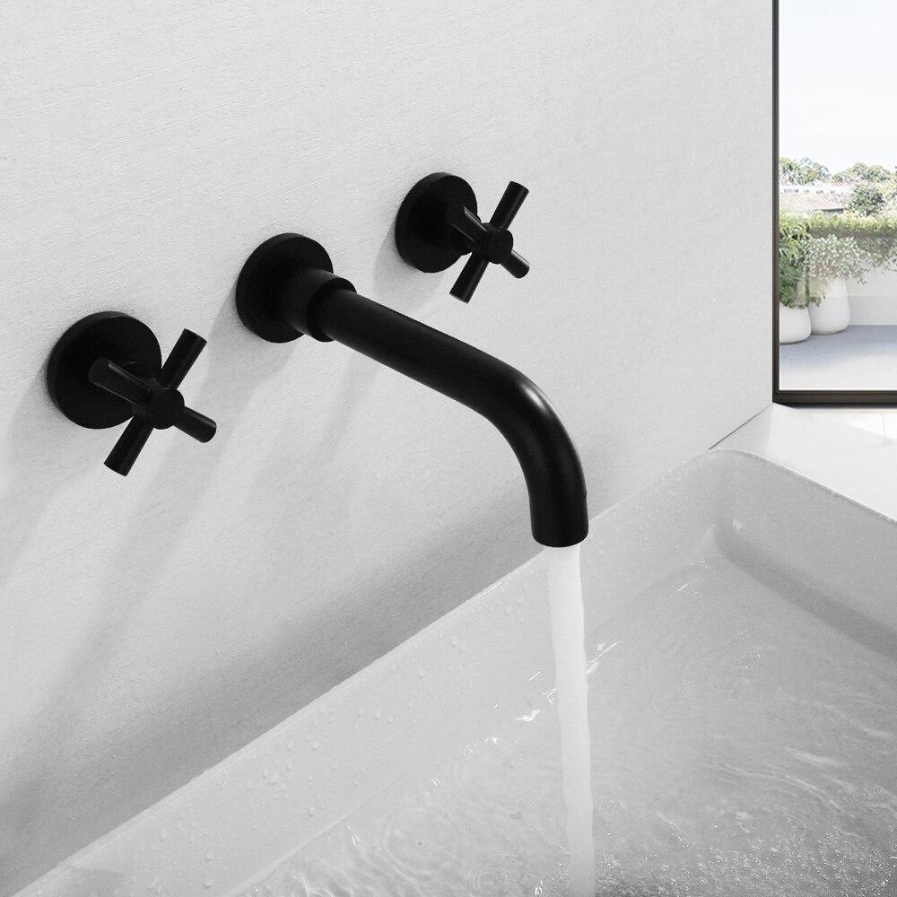 SKOWLL Contemporary Dual Handles Matte Black Basin Set In Wall Mounted Bathroom Faucet Mixer