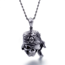 ФОТО cast skull pendulum european and american punk rock men's jewelry wholesale