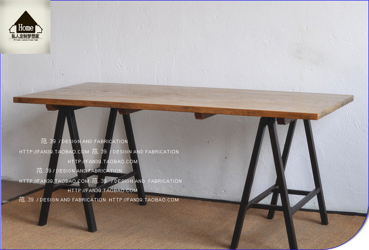 Super LOFT American country wrought iron table to do the old wood #ZL05