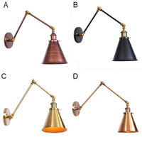 Adjustable Antique Industrial Long Swing Arm Black Wall Lamp Lights Brown Brass Retro Lighting For Bedroom Sconce Fixture