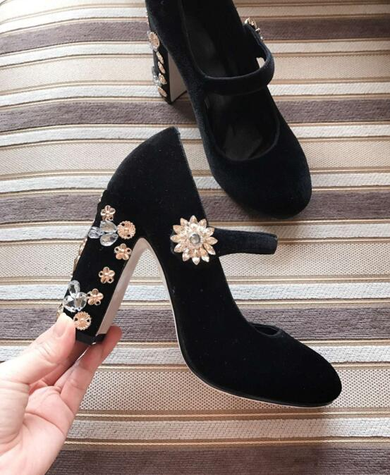 New fashion velvet high heel shoes gold angel embellished thick heels pumps round toe ankle strap shoes Mary janes woman shoes new new fashion thick heels woman shoes 2018 pointed toe velvet high heel shoes slip on printed stange heels pumps