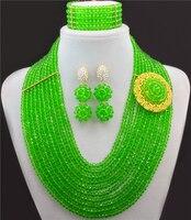 Yeşil Kristal Parlak Afrika Boncuk Takı Set Deyimi Kolye Nijeryalı Düğün Takı Seti Kostüm Jewellry Setleri 10017