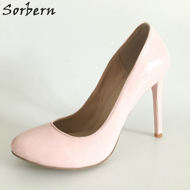75c579aca2be Sorbern Light Pink Round Toe Small Size 33-46 High Heel Runway Shoes Ladies  Stiletto Patent Leather Slip-On Pump Heels Custom