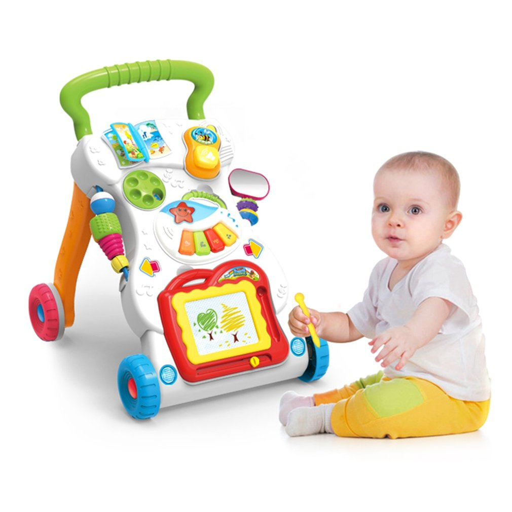Baby First Steps Car Toddler Trolley Sit-to-Stand Walker for Kid's Early Learning Educational Musical Adjustable Baby Walker New 45cm baby stroller sit to stand learning walker multifunction outdoor toy ride on car stokke activity walker gift for baby