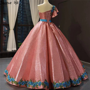 Image 5 - High end Red Bean One Shoulder Sexy Wedding Dresses 2020 Real Photo Sequin Handmade Flowers Bride Gown 66738 Custom Made