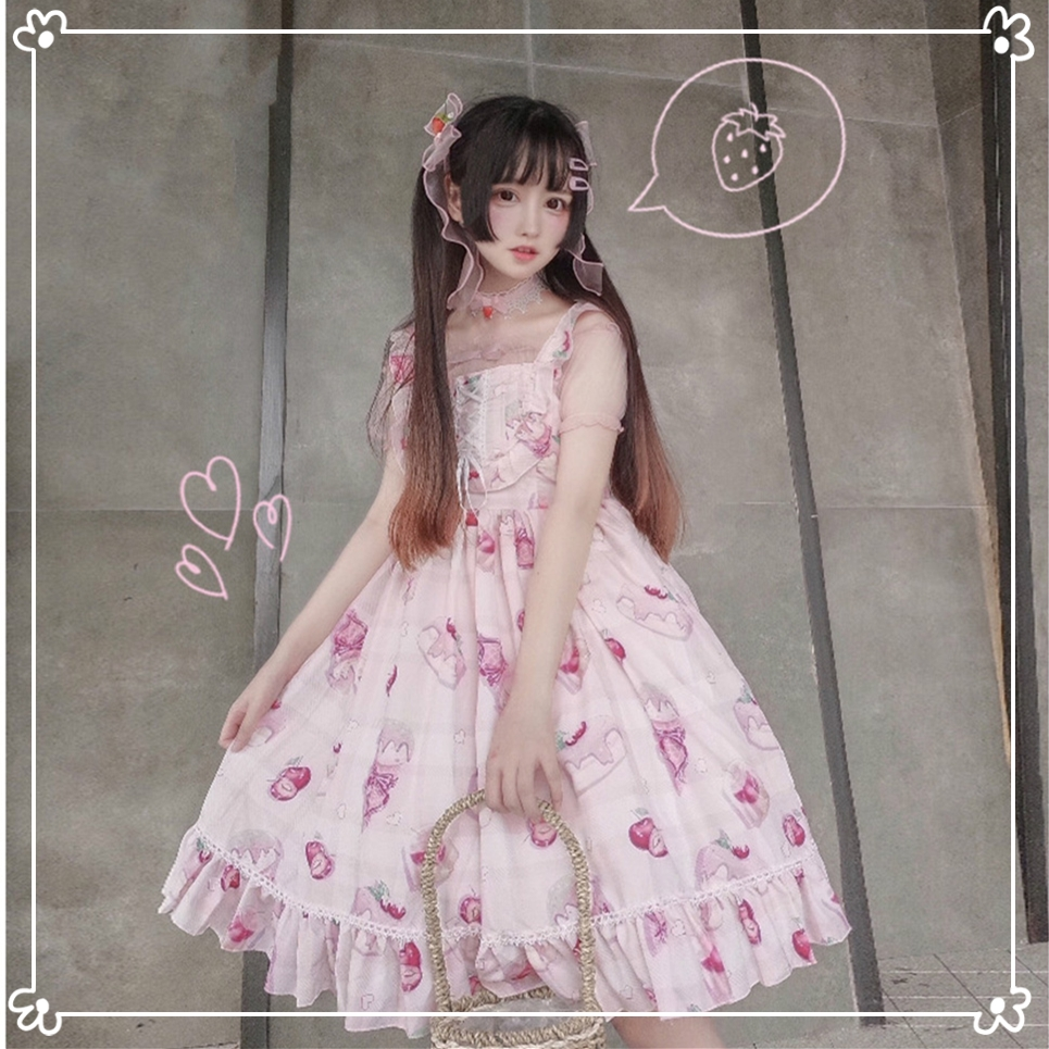 Kawaii Japanese Style Jsk Lolita Dress Sweet Cherry Dessert Lolita Daily Sleeveless Dress Soft Girl Dress