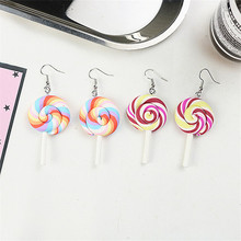 Korean Cute Soft Pottery Colorful Lollipop Simple Woman Girls Dangle Drop Earrings Fashion Jewelry-LAF