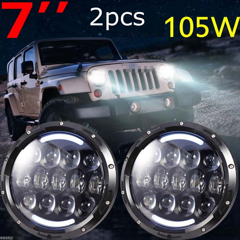 7 Inch 105W Headlights LED Hi/Lo Beam with Amber Turn Signal and White DRL For 1997-2016 JK TJ LJ Unlimited h4 7 led headlights with led car canbus led chip 80w 8000lm 6000k hi lo led driving light for off road uaz lada