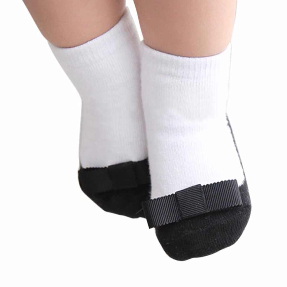 1-3 años bebé Niña Zapatos de cuero negro de la cinta arco principal antideslizante botas tobillo calcetines #06