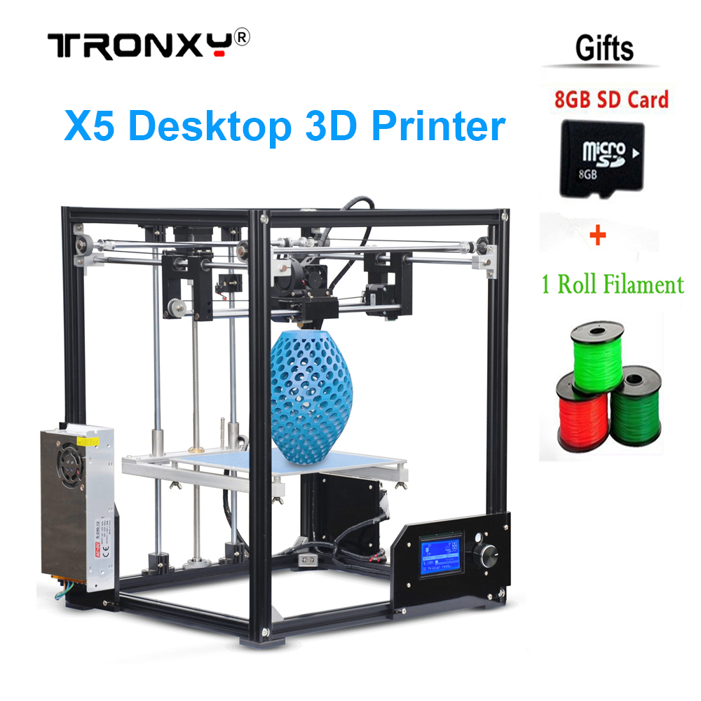 New X5 Desktop 3D Printer Big LCD display low decible diy 3d printers Kit Heated Bed with 1 Roll Filament 8GB SD Gifi ship from european warehouse flsun3d 3d printer auto leveling i3 3d printer kit heated bed two rolls filament sd card gift