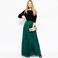 Dark Green Chiffon Long Skirt Summer Custom Made Elastic Waist Fashion Womens Skirts Bohomian Causal Comfortable Freedom Skirt