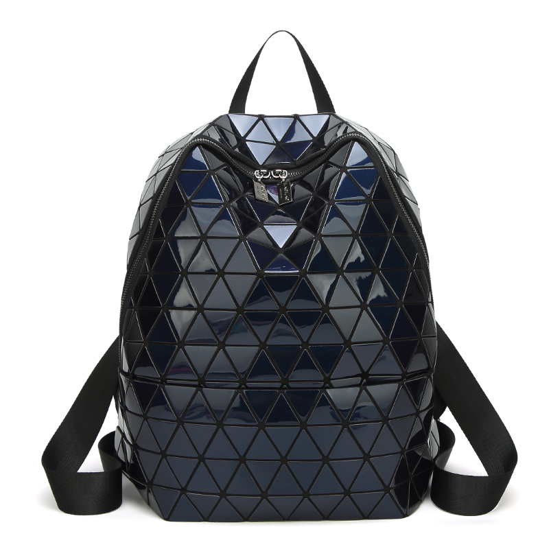 Drop shipping Laser Bag Women PU Laptop Backpacks Fashion Girl Daily Backpack Geometric Package Sequins Folding School Bags youpop kpop blackpink album laser pu bag jewelry admission package new fashion backpack bags sjb618