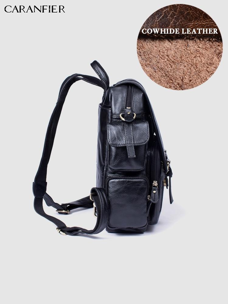 Bookbag Cuir Air Portable Capacité Noir marron En Voyage Dos Ordinateur À Mens Sac Peau De Plein Véritable Sacs D'école Classisc Grande Vache Caranfier Solide reCxdoWB