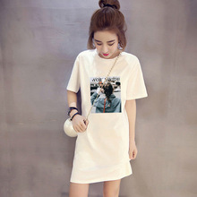 New 2019 Summer Fashion Cotton O-Neck Short Sleeve Long Tops & Tees Loose Casual Woman Girl Student Couple T Shirt Cartoon Print