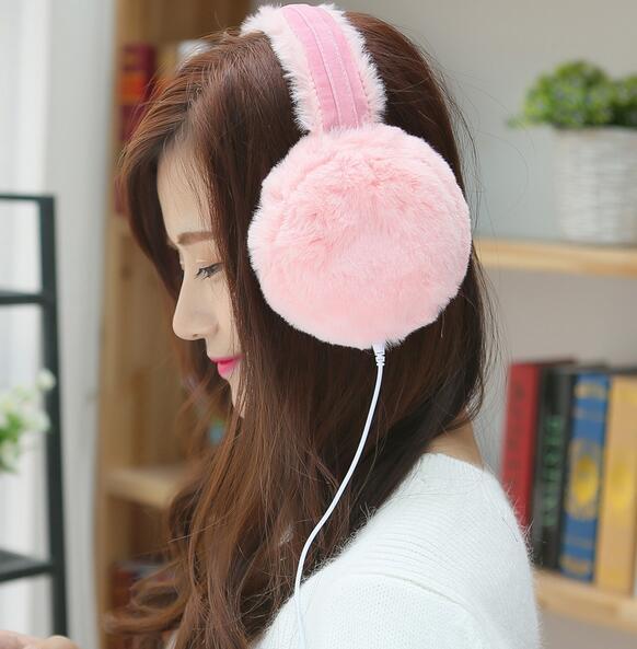 Autumn And Winter Warm Fur Music Earphones Faux Fur Earmuffs Ear Headset Fashion Faux Fur Head Decor Multi Color To Choose