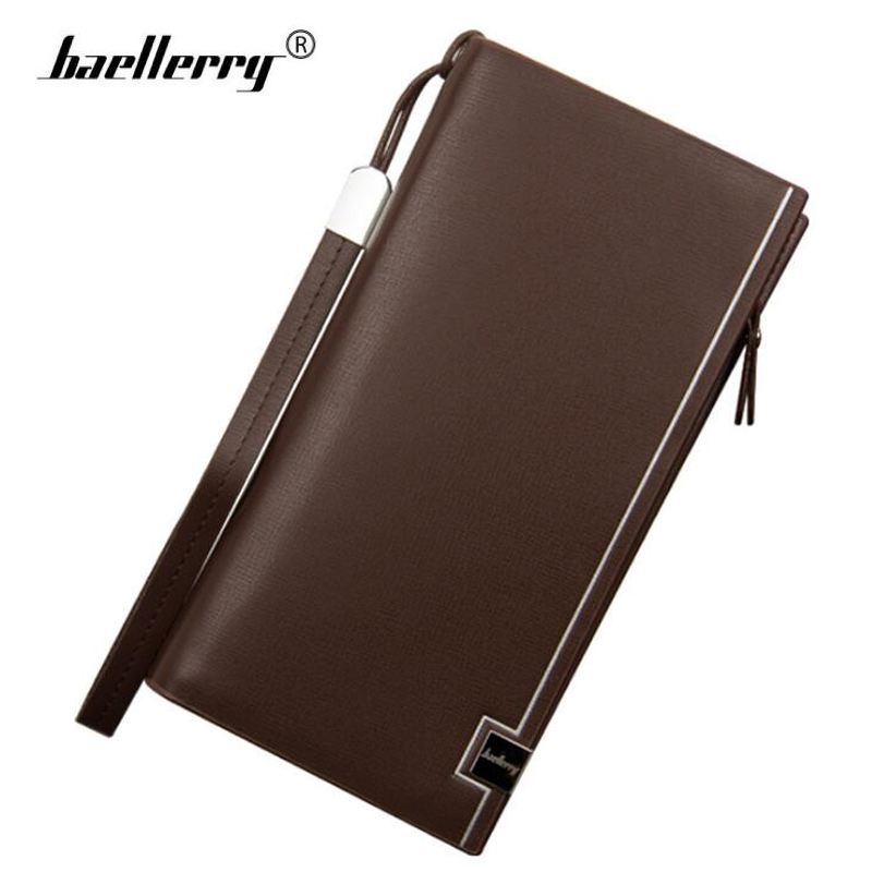 Baellerry Luxury Brand Leather Wallet Men Business Clutch Handy Bag Men Wallets Long Coin Purse Male Wallet Man Top Zipper Purse men clutch bag italian vegetable tanned leather long wallet luxury phone wallets wristlet male purse man clutch hand bag purses