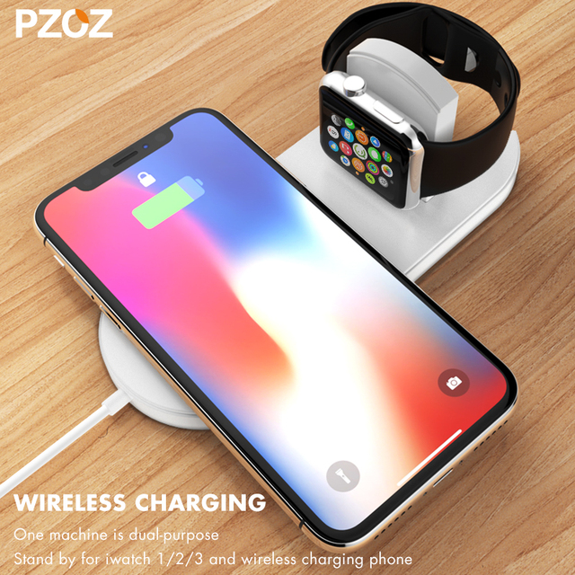 pick up 8dbf3 84c0a US $16.65 |PZOZ Qi Wireless Charger Fast Charging For Apple Watch 3 iwatch  iphone X 8 plus 2 In 1 Fast Wireless usb Pad Phone Adapter-in Wireless ...