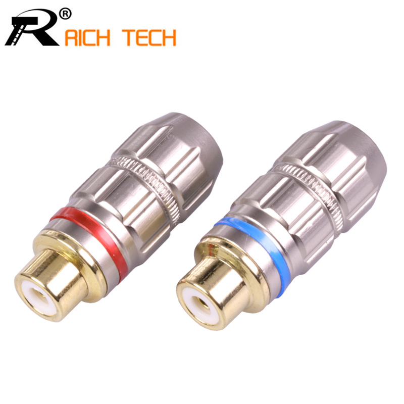 2Pcs/1Pair Luxury Nickle Plated RCA Connector Gold plated RCA Jack Socket audio adapter blue&red in 1pair speaker plug 1pair gold plated rca jack connector panel mount chassis audio socket plug bulkhead with nut solder cup wholesale 2pcs