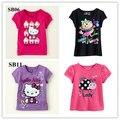 Розничная Марка 2015 новые 100% хлопок дети новорожденных девочек одежда футболки детские кофточки футболки Мультфильм платье Мило