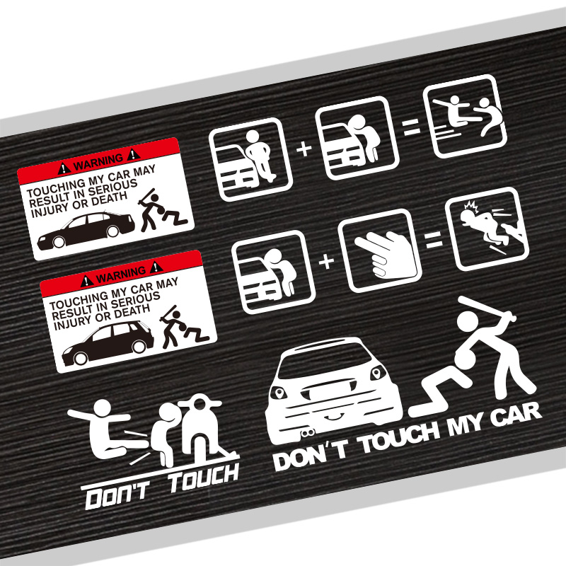 Dont Touch My Car Beating Bad Guy JDM Sticker Car Styling Badge Reflective Vinyl PVC Pri ...