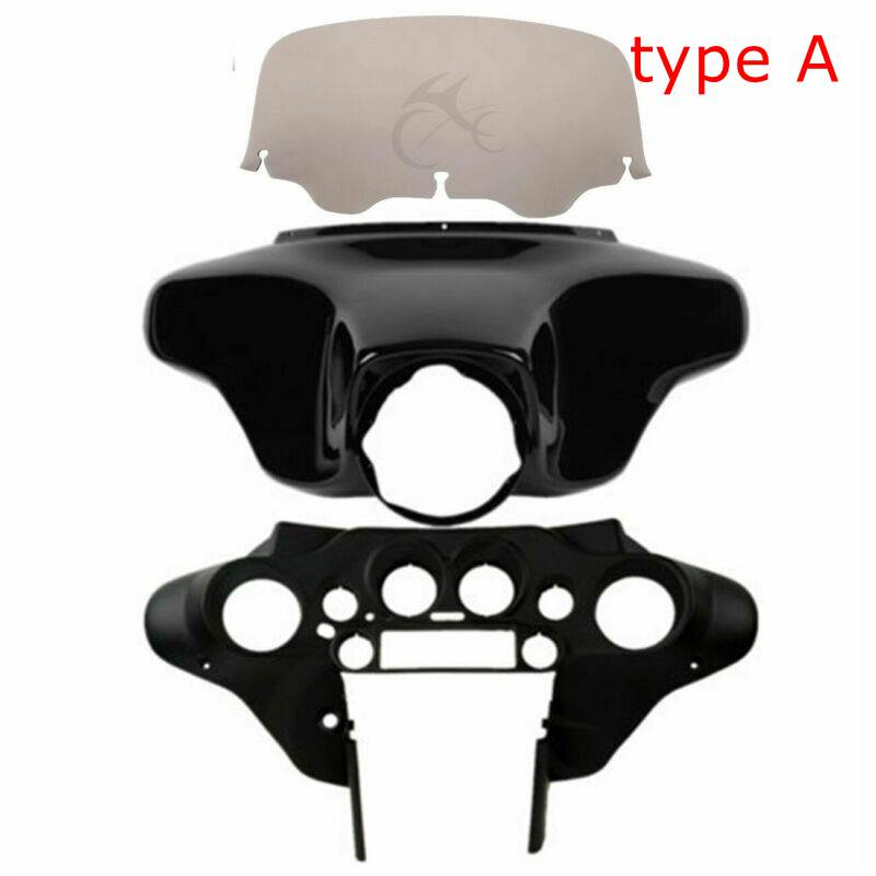 Motorcycle Batwing Inner Outer Fairing Smoke Windscreen Windshield For Harley Touring Road King Street Electra Glide