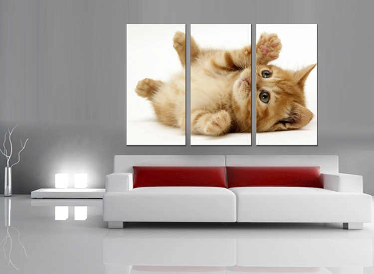 3 pieces / set Modern Animals Pet Cat Quotes Canvas Art Print Poster Nursery Wall Picture Kids Baby Room Decor Painting