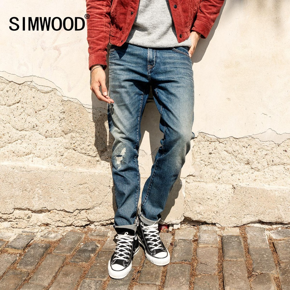 SIMWOOD 2019 Brand   Jeans   Men Fashion Ripped Dark Wash Slim Fit Denim Trousers Plus Size Skinny   Jeans   Men High Quality 180338