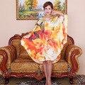 Vestido de seda Largo/100% Natural de Satén de Seda de Las Mujeres Vestidos de 2015 Nuevo Estilo de Verano Desigual Más El Tamaño de Las Mujeres Elegantes de La Vendimia ropa