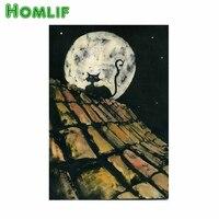 HOMLF 5D diamond painting cross stitch round Rhinestones embroidery The cat on the roof plastic crafts Full diamond painting