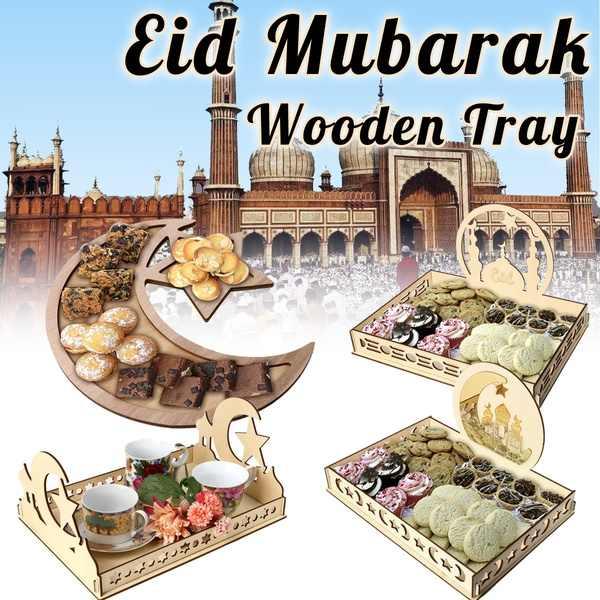 Eid Mubarak Bandejas Prato de Sobremesa de madeira Decoração De Madeira Da Lua EID Ramadan Islam Muçulmano Partido Home Decor Festival Ornamento Bandeja