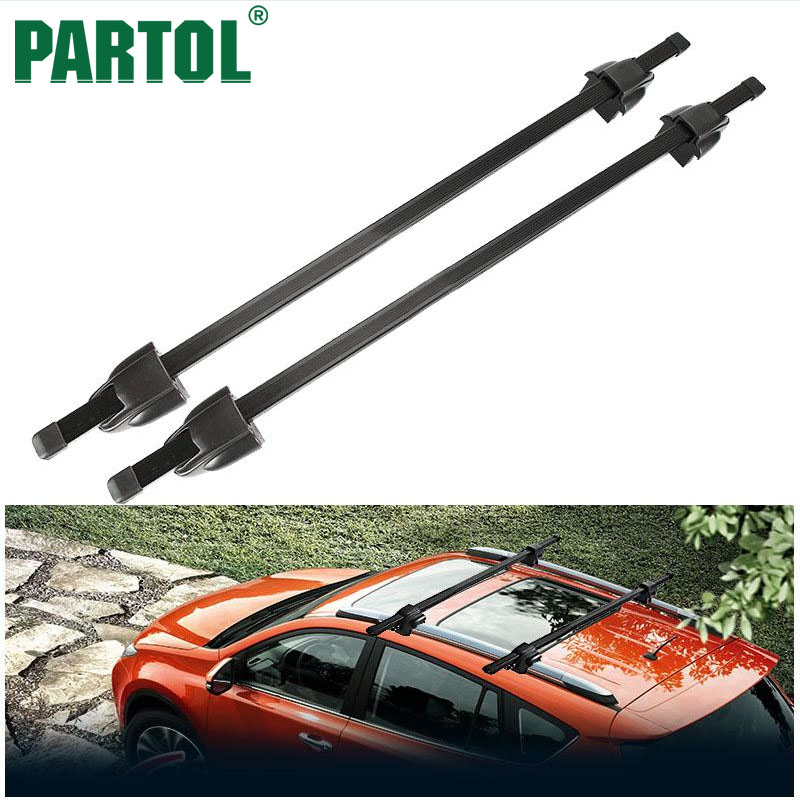 Partol Black Adjustable 120cm 35kg/75LBS 48 Car Roof Rock Cross Bar Top Luggage Cargo Carrier With Security Lock System
