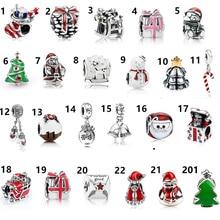 Рождественский подарок 1 шт Снеговики отец дерево бусинки с большими отверстиями Шарм fit pandora стиль браслет