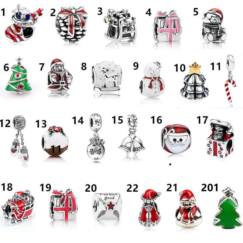 משלוח חינם מתנה לחג המולד 1 pc אנשי שלג אב עץ גדול חור חרוז קסם fit פנדורה סגנון צמיד