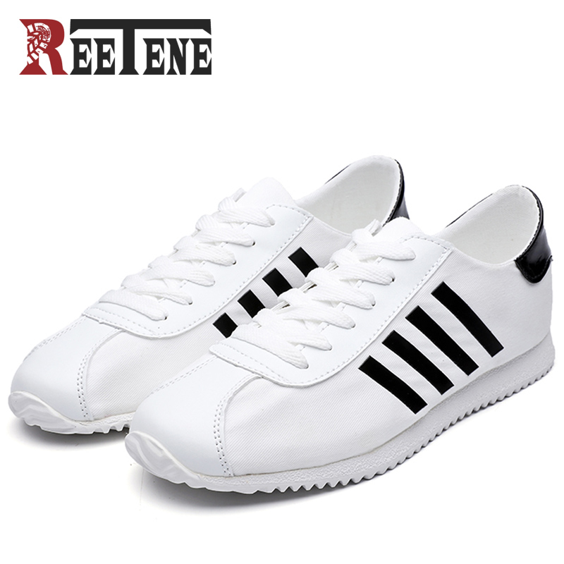 REETENE New Arrival Spring Summer Comfortable Casual Shoes Mens Canvas Shoes For Men Lace-Up Brand Fashion Flat Loafers Shoes brand new spring casual boys canvas low top shoes slip on mens lightweight canvas shoes for young men fashion flat shoes ac 07