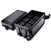 Relay Box 6 Relays 6 Fuses Holder Block with 41pcs Metallic Pins Universal for Automotive Accessories