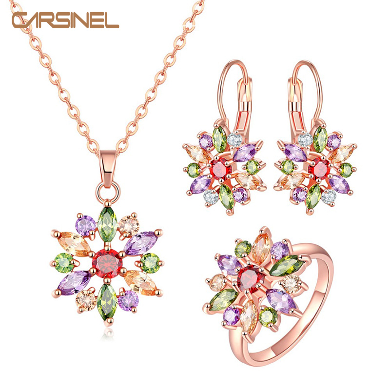 CARSINEL Colorful Flower Jewelry Sets Wedding Rose Gold color AAA