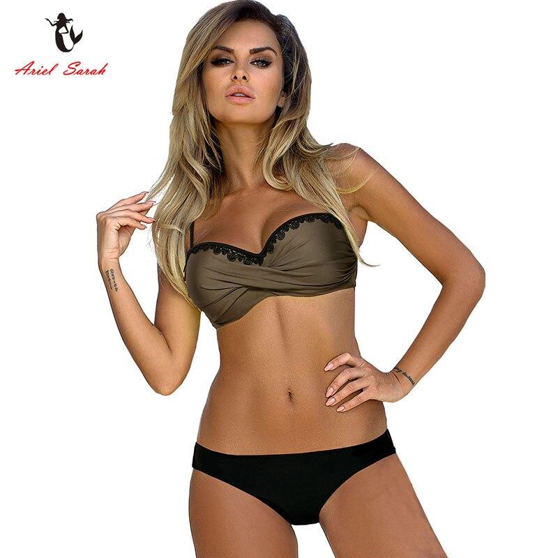 Ariel Sarah Bandage Bikini 2018 Push UP Swimwear Swimsuit Mulheres Maiô Halter Plus Size Bikini Set Maillot De Bain Q256