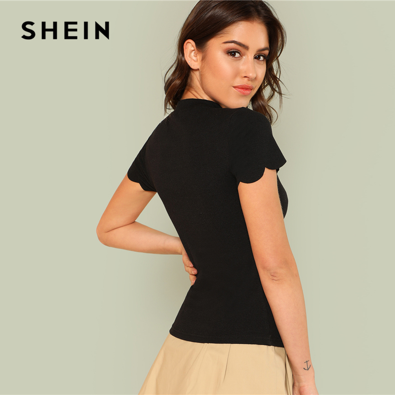 SHEIN Black Elegant Mock Neck Scallop Trim Cut Out V Collar Short Sleeve Solid Tee Summer Women Weekend Casual T-shirt Top 1