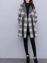 New Loose Thin Plaid Woolen Coat Female Fashion Slim Long Lantern Sleeve Women Wool Stitching Jacket